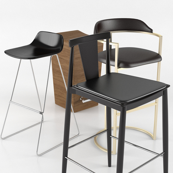 Bar Stool Sets - 3DOcean Item for Sale