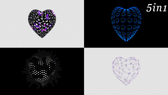 VideoHive Alpha Hearts VJ Loop Pack 5in1 19413659