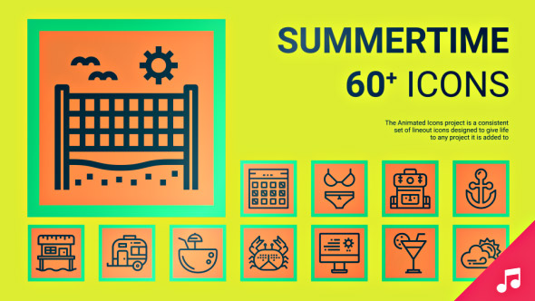 VideoHive Summertime Icons and Elements 19414135