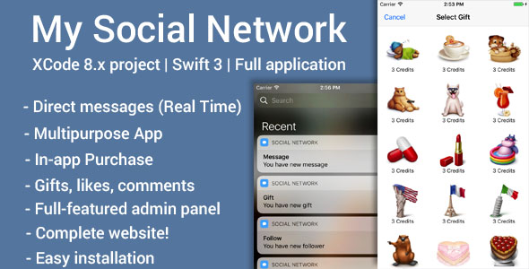 My Social Network (iOS App and Web-site) – Swift three (Complete Applications)