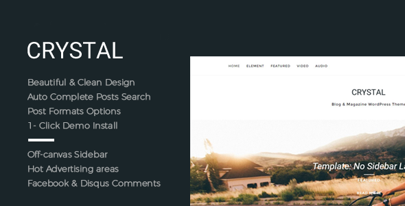 Crystal - Beautiful, Clean and Fast WordPress Blog Theme