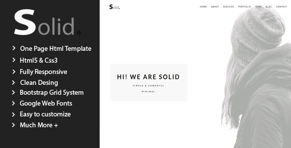 Solid - Minimal Multipurpose One Page Template