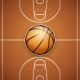 Poster Template of Basketball Ball and Field
