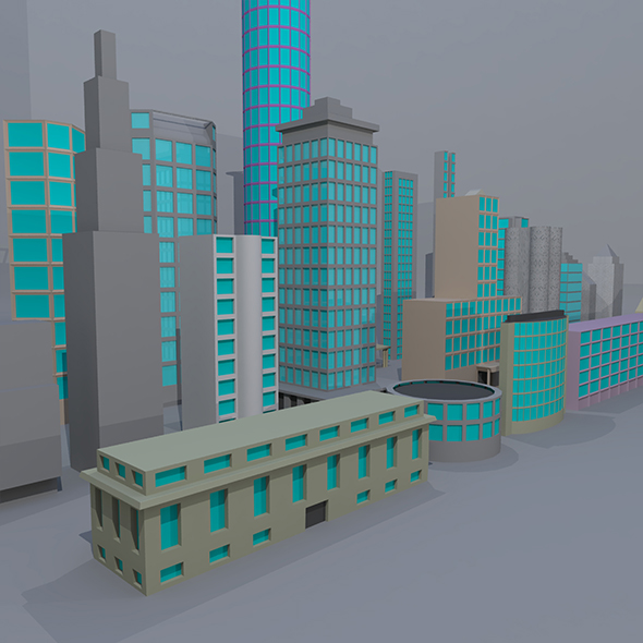 24 Low Poly Building - 3DOcean Item for Sale