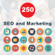 SEO and Marketing Flat Circle Icons