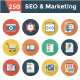 SEO and Marketing Flat Circle Shadow Icons