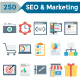 SEO and Marketing Flat Icons