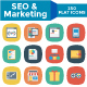 SEO and Marketing Flat Square Icons