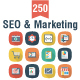 SEO and Marketing Flat Square Shadow Icons