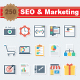 SEO and Marketing Flat Paper Icons