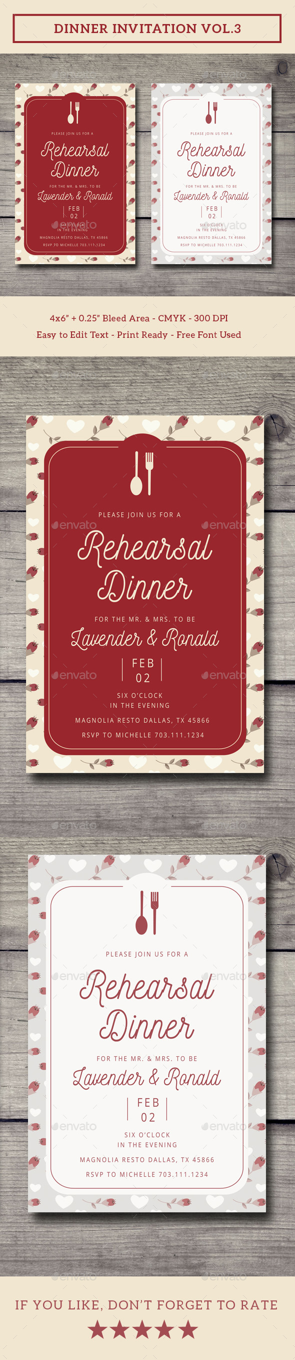 Dinner Card Designs & Invite Templates from GraphicRiver