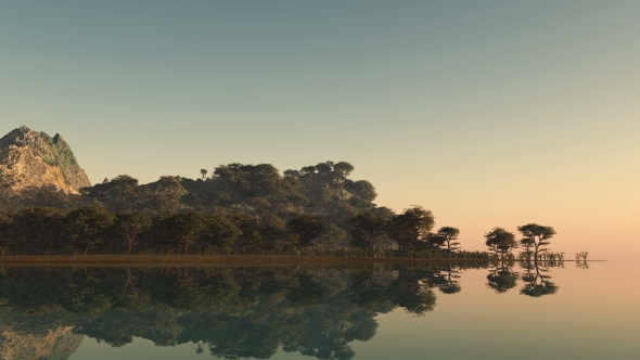 VideoHive Sunset and Island with Forest at Ocean 19422034