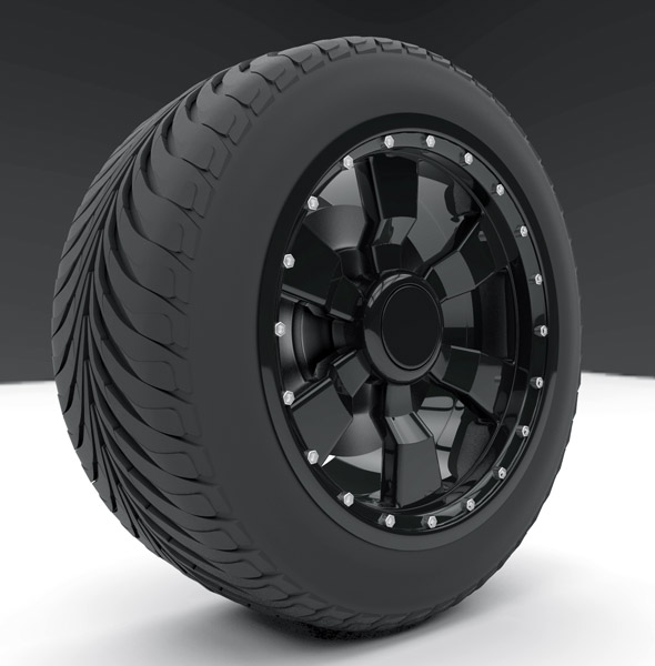Tire with excellent rin for large and small car models with format for 3d studio, 4d cinema and - 3DOcean Item for Sale