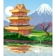 Landscape - Japanese Pagoda By the Lake.