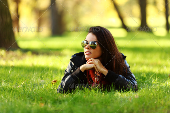 woman on green grass - Stock Photo - Images