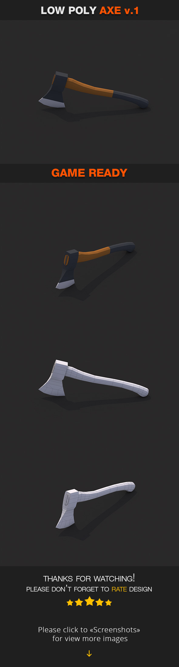 Low Poly Axe v.1 - 3DOcean Item for Sale