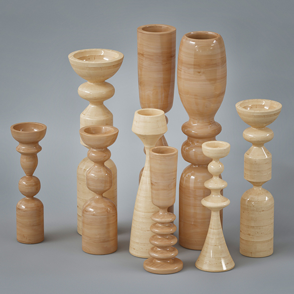 Wooden Vase Collection - 3DOcean Item for Sale