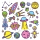 Download Vector Hand Drawn Cartoon Alien Space Set