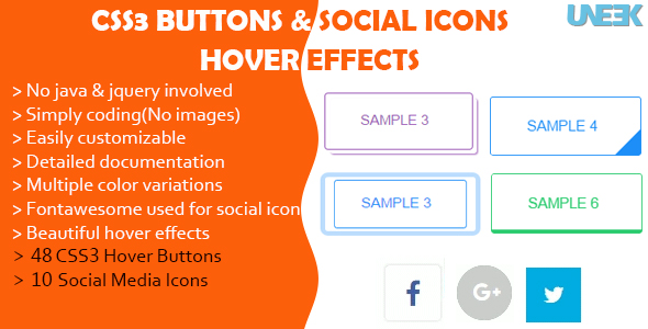 Download CSS3 Buttons Hover Effects and Social Media Icons