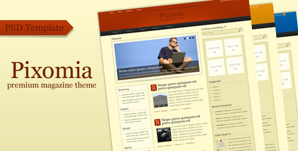 Pixomia Premium PSD Template for WordPress