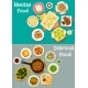 Dinner with Healthy Fruit Desserts Icon Set