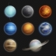 Solar System Planets Realistic Set Isolated