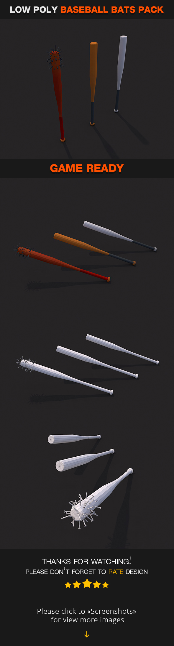 Low Poly Baseball bats - 3DOcean Item for Sale