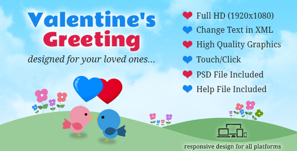 Valentine's Day Animated Greeting Card - with Music - CodeCanyon Item for Sale