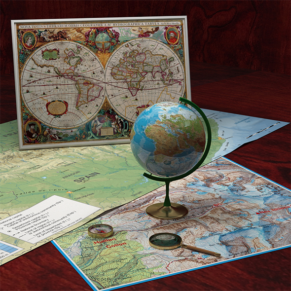 3DOcean Compass Globe Old Map and Magnifying Glass 19435674