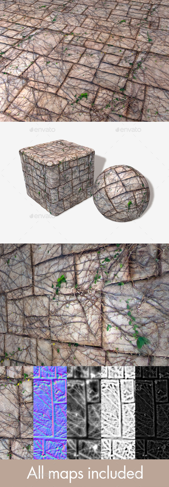Vine Covered Stone Wall Seamless Texture - 3DOcean Item for Sale