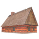 Wood and Straw Roof House
