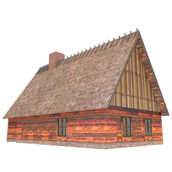 Wood and Straw Roof House - 3DOcean Item for Sale