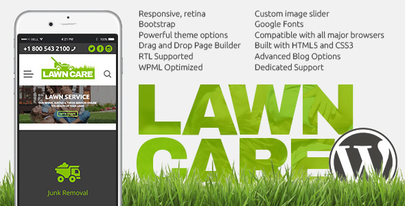 Lawn Care services - WordPress website theme