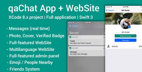 qaChat (iOS App and Website) - Swift 3