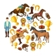 Equestrian Cartoon Round Composition