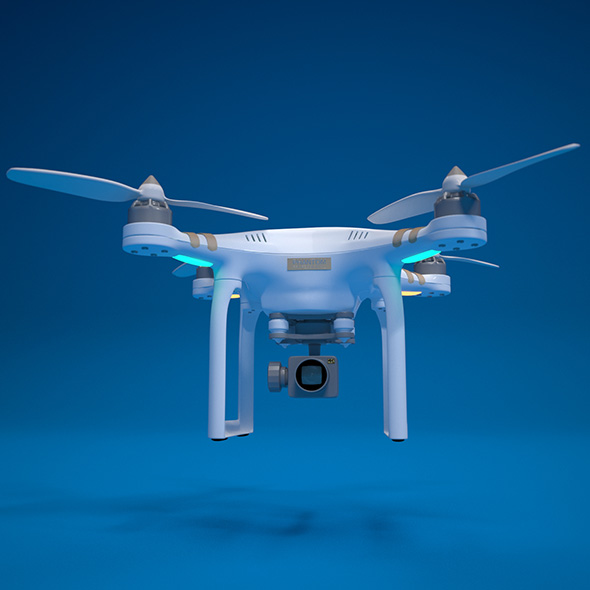 Quadrocopter RC drone with Ultra HD camera high detail - 3DOcean Item for Sale