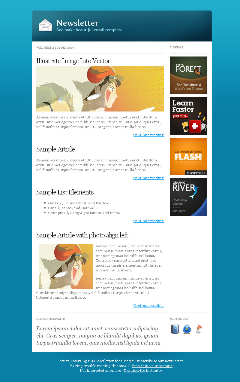 Our Community Mail + Customizable Email Template - General mail template (blue) with right sidebar