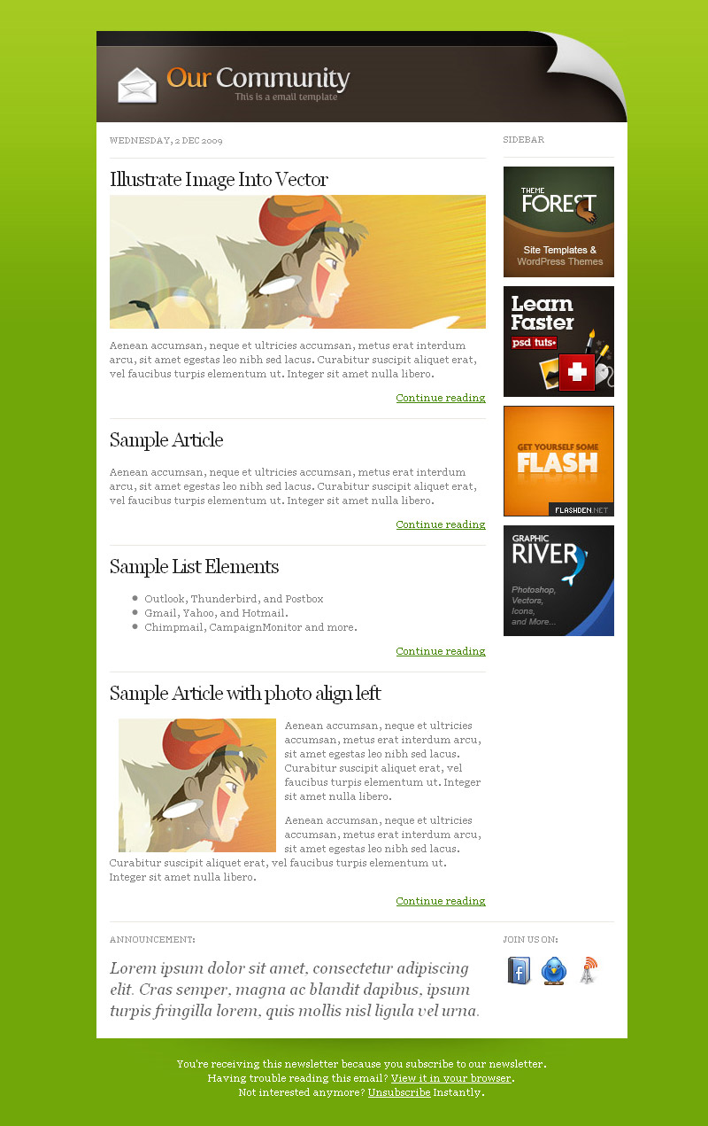 Our Community Mail + Customizable Email Template - Community mail template (green) with right sidebar