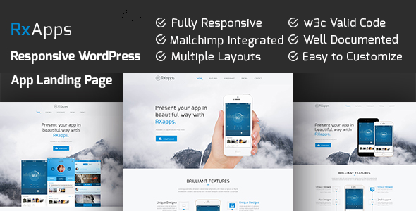 RxApps – Responsive WordPress App Landing Page (Marketing) Download