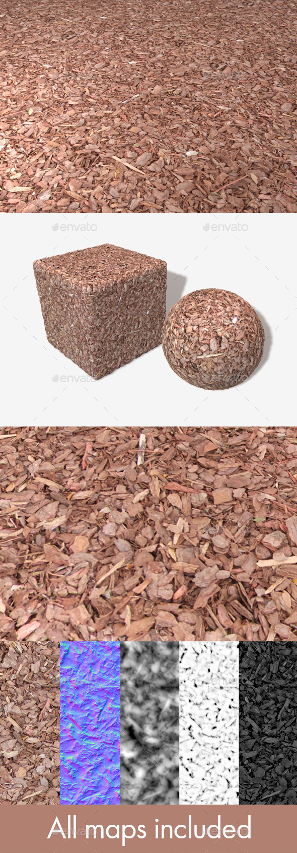 3DOcean Red Garden Bark Seamless Texture 19440108