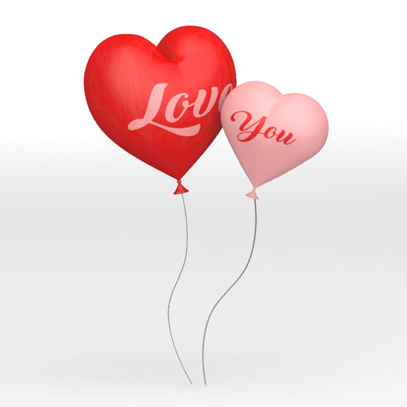 Heart Shaped Balloons - 3DOcean Item for Sale