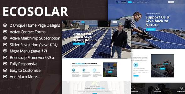 EcoSolar – Nonprofit Atmosphere Recyling Solar HTML5 Template (Environmental)