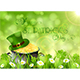 Sunny Patricks Day Background with Hat and Gold of Leprechaun