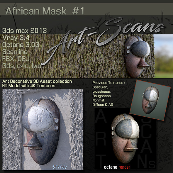 Art Scans African Mask #1 - 3DOcean Item for Sale