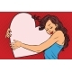 Young Woman Hugging Valentine Heart