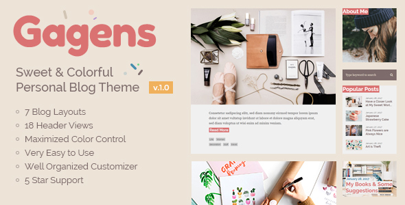Gagens – Sweet & Colorful Personal Blog Theme (Personal) Download