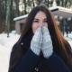 Long Dark Haired Woman Walk in Winter Park
