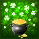 Patrick Day Background with Clover and Gold
