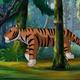 Ussurian Tiger Walks Through the Taiga