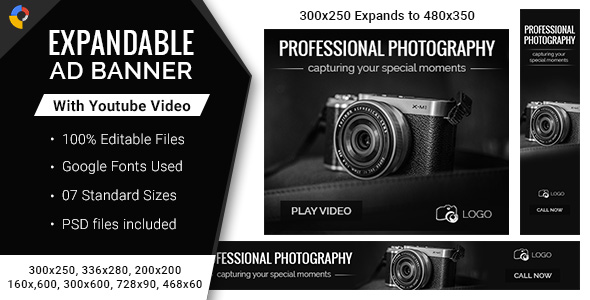 Photography | Expandable HTML5 Ad Banners - 7 Sizes